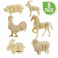 New Hands Craft 3D Puzzle 6 Assorted Pieces Farm Animals Set