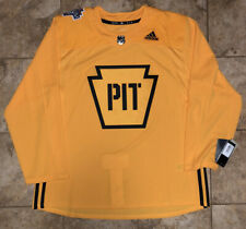 2019 Pittsburgh Penguins Stadium Series Yellow Practice Hockey Jersey Size 56