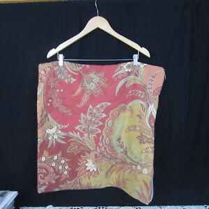 Pottery Barn 24 x 24 Pillow Sham Cranberry  Paisley Linen Cotton Blend India