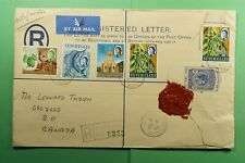 DR WHO 1962 SEYCHELLES VICTORIA UPRATED REGISTERED AIRMAIL TO CANADA  f52919