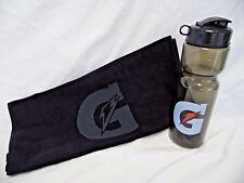 Gatorade Black Tone Sports Towel & Water Bottle Flip Top Basketball Football Gym