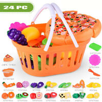 24pcs Kids Toy Pretend Role Play Kitchen Pizza Food Cutting Sets Children Gift