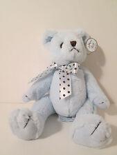 """Bearington Baby Collection Blue Teddy Bear NWT 10"""" Plush Polka Dot Bow"""