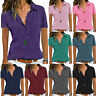 Womens Blouse Summer Short Sleeve Button Down T-Shirts Solid Tees Shirt Tops New