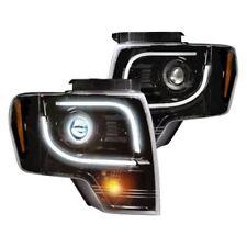 Recon Black/Smoke LED DRL Bar Projector Headlights for 13-14 F150 & RAPTOR