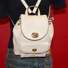 COACH Ivory Leather Mini Rucksack Turnlock Backpack Drawstring Bag Purse 37581
