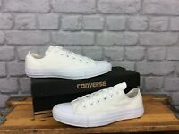 CONVERSE UNISEX WHITE LOW OX MONO WHITE LABEL ALL STAR CANVAS TRAINERS MANY SIZE