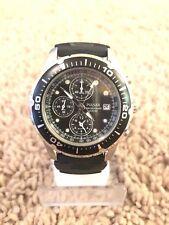 Pulsar Men's Silver Tone Black Resin Strap 100m Chronograph Watch #02