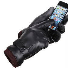 Fashion Men Winter Leather Motorcycle Full Finger Touch Screen Warm Gloves NEW