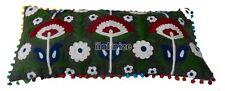 Embroider Suzani Cotton Cushion Cover Vintage Floral Rectangle Pillowcase Throw