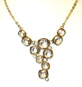Sparkling Swarovski Crystals Set With Cubic Zirconia Gold Necklace & Bracelet