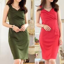 Women's V Neck Polyester No Pattern Stretch, Bodycon Dresses