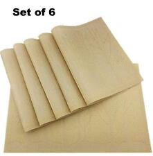 Set of 6 New PVC Gold Placemats Washable Vinyl Mats for Kitchen Table Mats