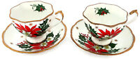 Queen Anne Noel Poinsettia Set of 2 Tea Cups & 2 Saucers Fine Bone China England