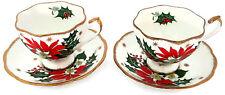 Queen Anne Noel Poinsettia Set of 2 Tea Cups & 2 Saucers Fine Bone China England