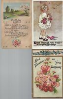 Vintage Assorted Birthday Postcards Circa 1800's-1900's Lot of 5 *