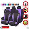 Universal Black Purple Car Seat Cover Split Front Rear For TRUCK SUV Sedan Van