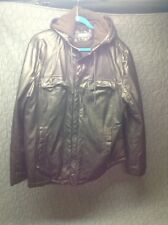 Kenneth Cole Faux Leather Bomber Jacket Full  Zip w/ Pockets Lined