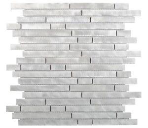 Modern Linear Grey Metallic Metal Backsplash Tile Kitchen Wall Bathroom MTO0014