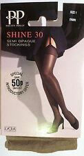 Pretty Polly Small to Medium Size Semi Opaque 30 Denier Shine Stockings in Fawn