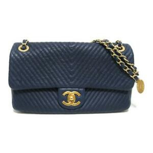CHANEL Chain shoulder crossbody bag leather Blue GHW Used
