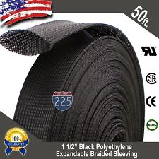 """50 FT. 1 1/2"""" Black Expandable Wire Cable Sleeving Sheathing Braided Loom Tubing"""