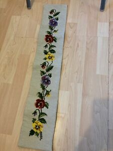 """Handmade Bell Pull Tapestry wall hanging (pansies) size 34"""" x 6.5"""""""