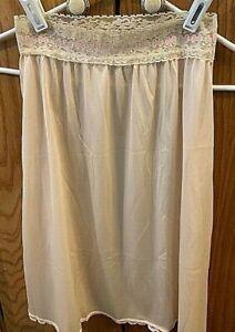 Vintage Ivory Nylon Half Slip Pretty Elastic Waist Size Medium Preowned   EVC