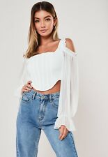 BNWT Missguided Corset Top Size 4 Cold Shoulder White Frill Cut Out Crop Blouse