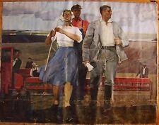 Russian Ukrainian Soviet oil painting realism peasant collective farmer girl