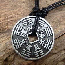 Chinese Lucky 8 Points Wheel Coin Wicca Pewter Pendant And Cotton Necklace #320