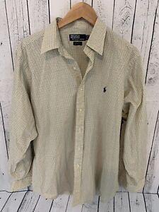 POLO RALPH LAUREN Andrew Yellow Blue Plaid Dress Shirt Size 16 1/2 35 W2