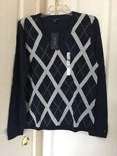 Women's Tommy Hilfiger Long Sleeve V-neck Black/Grey Argyle Sweater Sz L