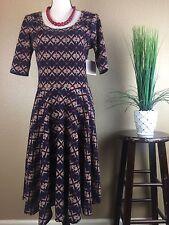 Lularoe Nicole Dress Size Large Geometric Striped Print Red Blue Beige Tan NWT