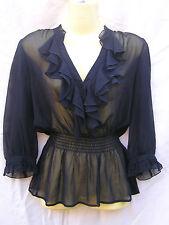 Portmans Blouse Top Elastic waist Ladies Size 10 3/4 Sleeve