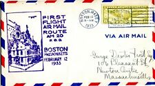 1933 FIRST FLIGHT AIR MAIL FROM BOSTON ON FEBRUARY 12, 1933