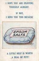 VINTAGE COMIC ENGLAND EPSOM SALTS ADVERTISING POSTCARD Sheffield to Scarborough