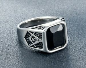 Men Punk Black CZ Stone Masonic Silver Titanium Stainless Steel Ring 8-12
