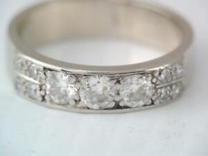 GORGEOUS SOLID 14K WHITE GOLD MULTI DIAMOND BAND RING sz 5 3/4