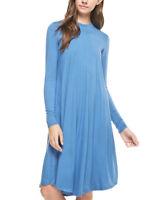Plus Size UK 24 Ladies Midi Dress Blue with Long Sleeves NEW #958