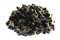 100 Pieces Black Single Flex Clips for RG6 RG59 Coax Cable Strain Relief Screw
