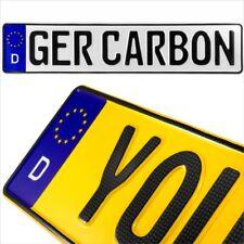 2x Carbon German D EU Badge Pressed Number Plates Metal Embossed Novelty Parking