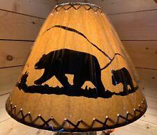 """Rustic Oiled Kraft Laced Bear Lamp Shade - 18"""""""