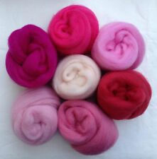 "7 colors Think Pink Wool roving 1oz ea 2 ~50"" corriedale felt wet soap candy"