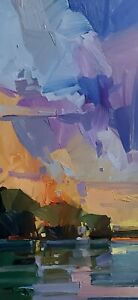 JOSE TRUJILLO Oil Painting IMPRESSIONISM Contemporary COLLECTIBLE RIVER VERTICAL