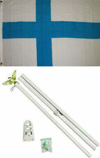 3x5 Finland Flag White Pole Kit Set 3'x5'