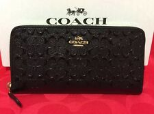 NEW COACH SIGNATURE DEBOSSED PATENT LEATHER ACCORDION ZIP WALLET BLACK F54805