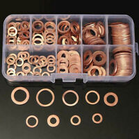 400Pcs/Kit Solid Copper Crush Washers Seal Sealing Flat O-Ring Gaskets Assorted