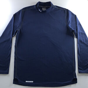 Mens Under Armour Cold Gear Mock Long Sleeve Fitted Shirt Navy Blue Size X Large