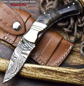 Handmade Damascus Pocket Liner Lock Folding Knife   RAM'S HORN